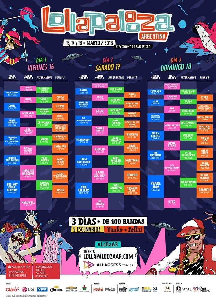 Lollapalooza 2018: mirá los horarios y escenarios de cada banda • Canal C