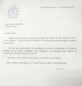 """El mensaje de Francisco a Bonafini: """"No hay que tener miedo a las calumnias"""" • Canal C"""