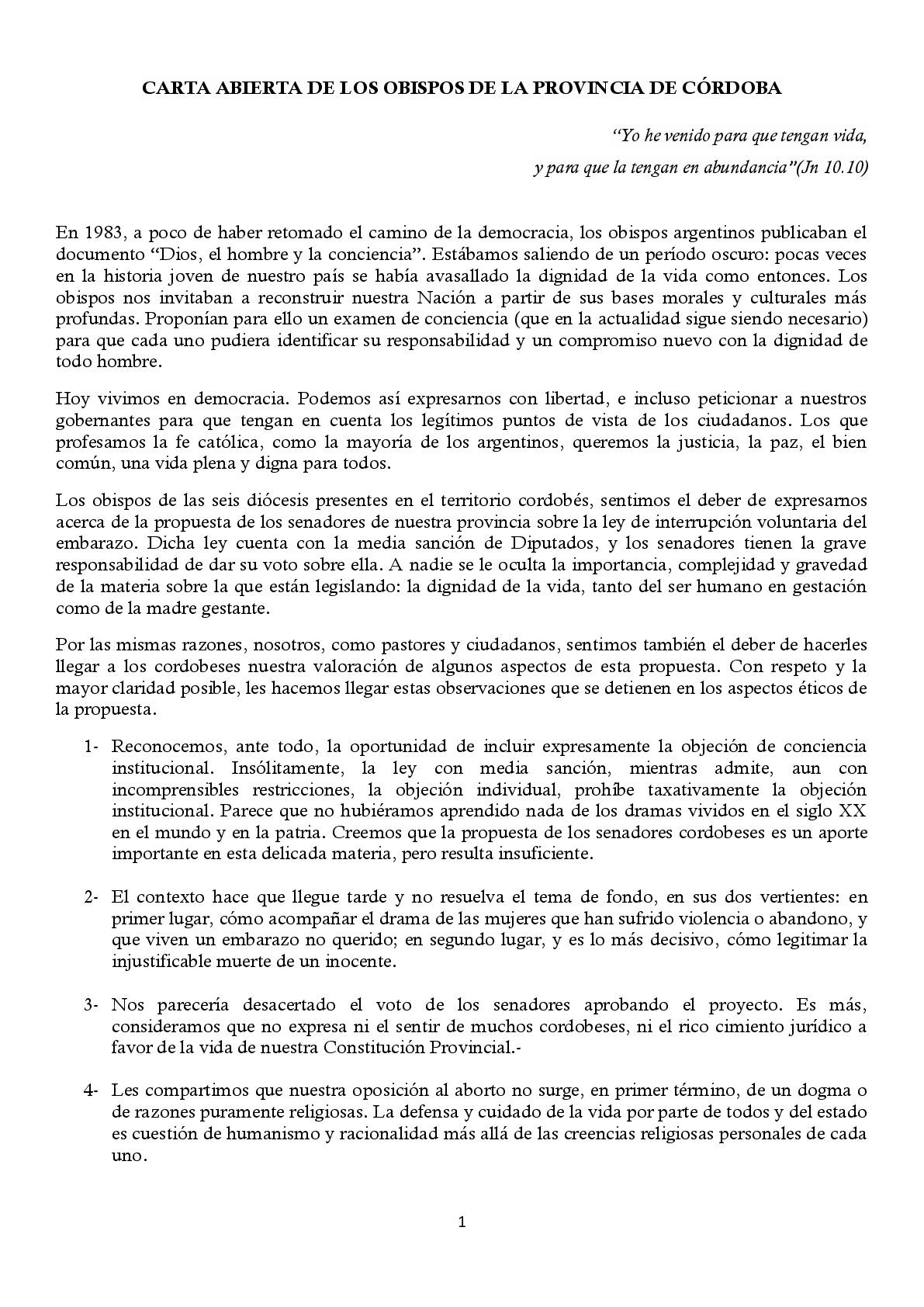 Carta de Obispos de Córdoba contra el aborto • Canal C