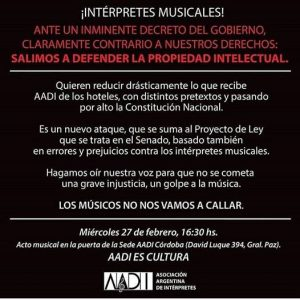 Los músicos de Córdoba se reúnen para defender sus derechos de intérpretes • Canal C