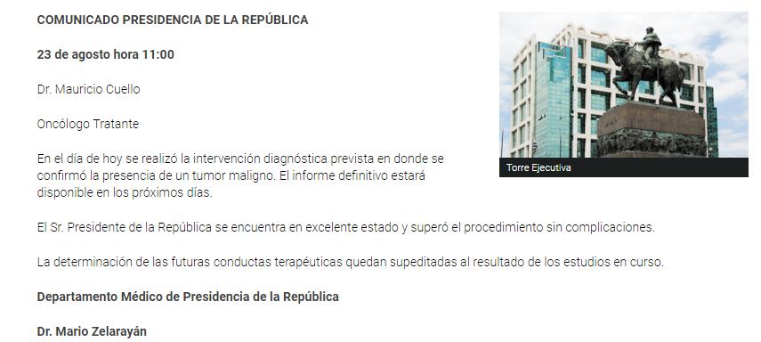 Uruguay: Tabaré Vázquez tiene un tumor maligno • Canal C