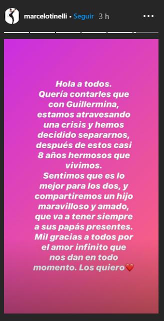 Tinelli y Guillermina Valdés se separaron • Canal C