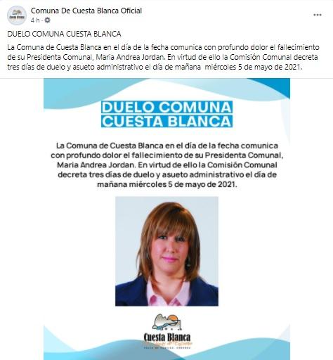 Murió Andrea Jordan, la Presidenta Comunal de Cuesta Blanca • Canal C