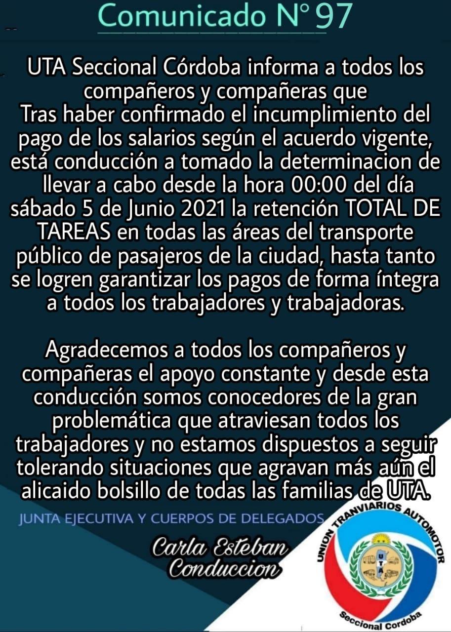 Rige el paro de UTA en Córdoba • Canal C