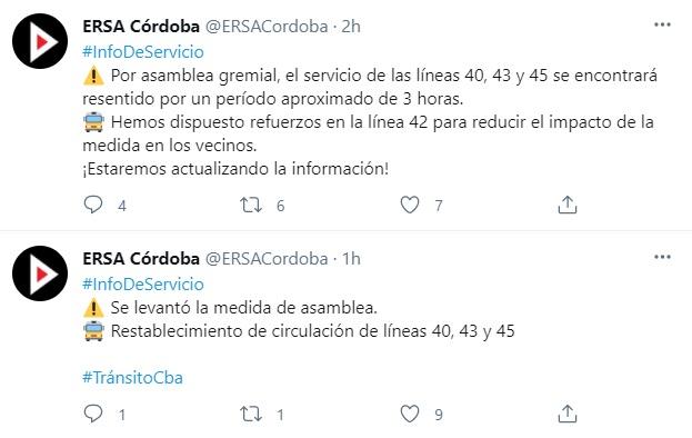 Circulan con normalidad las líneas 40, 43 y 45 • Canal C