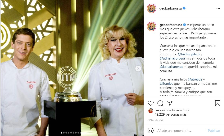 """Gastón Dalmau ganó """"MasterChef"""", pero se filtró un video con Georgina Barbarossa como campeona • Canal C"""
