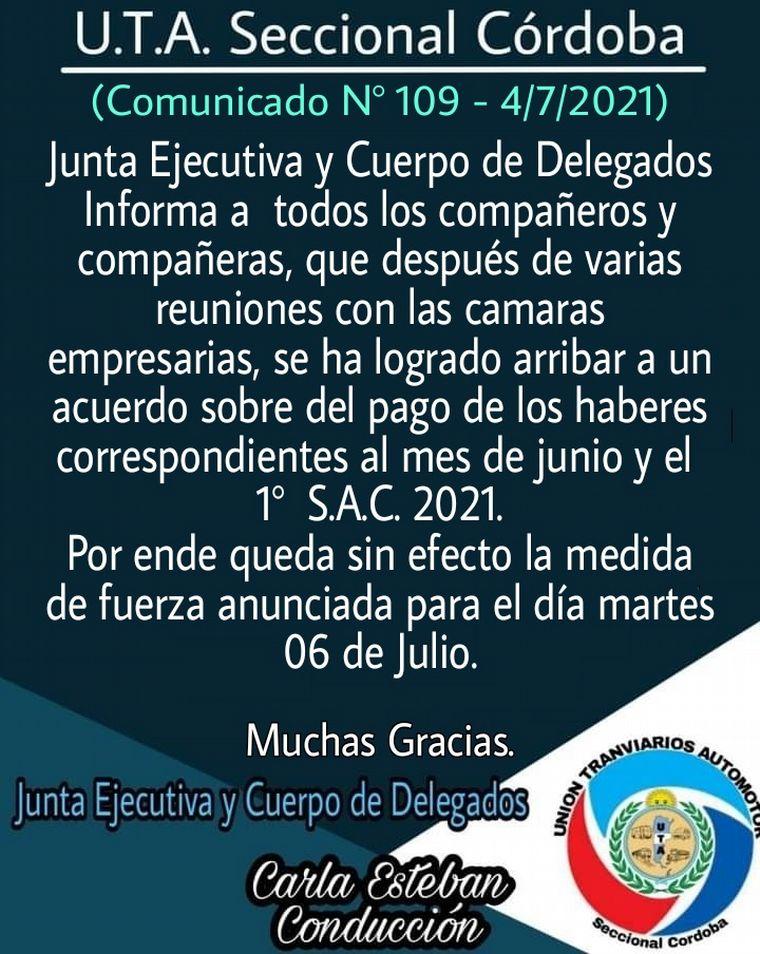 UTA acordó y no habrá paro de colectivos en Córdoba • Canal C