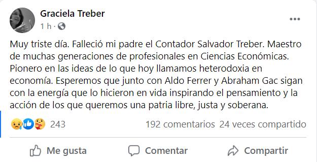 Falleció el contador Salvador Treber • Canal C