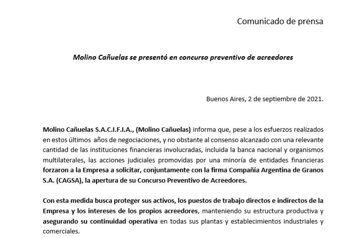 Molino Cañuelas llamó a concurso preventivo de acreedores • Canal C