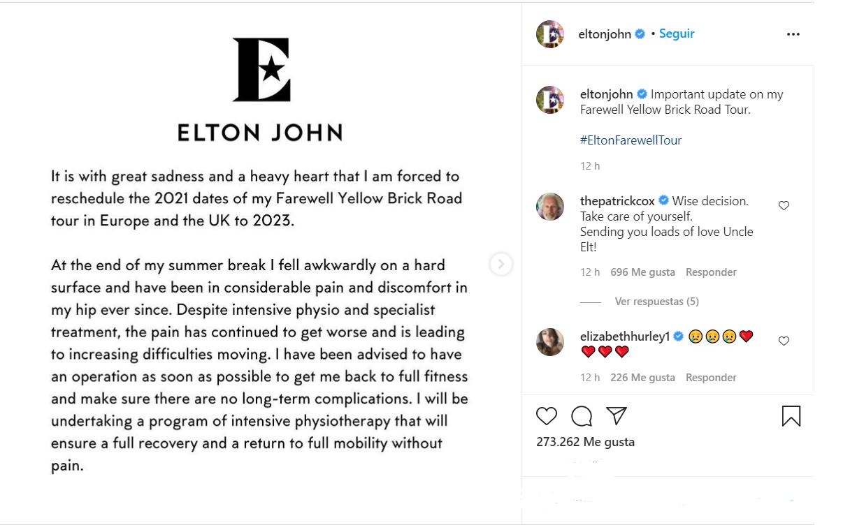 Elton John pospuso su gira por Europa por un problema de salud • Canal C