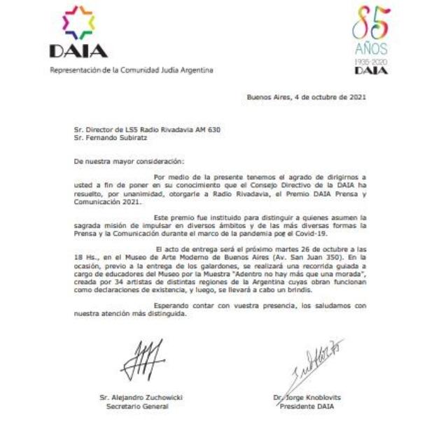 Radio Rivadavia será reconocida con el Premio DAIA Prensa y Comunicación 2021 • Canal C
